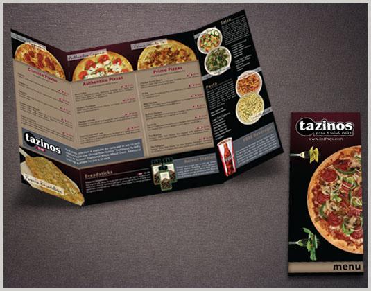 Tazinos Pizza & Salad Bistro Menu on Behance