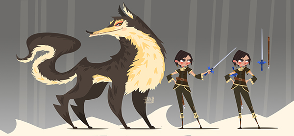 Arya and Nymeria by Qarlos