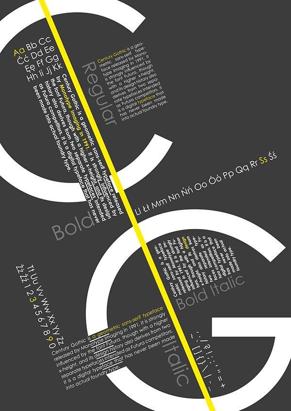 Century gothic poster black White yellow typo