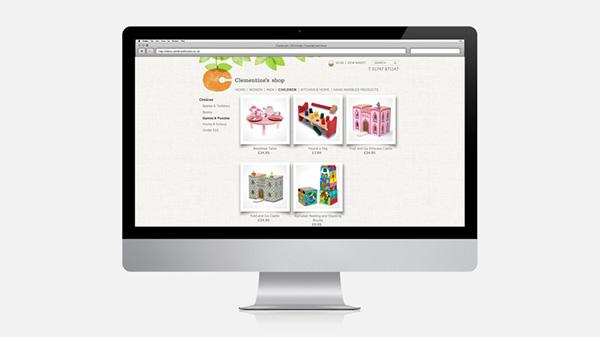 Clementines shop, logo design, ecommerce site, orange logo,scrapbook