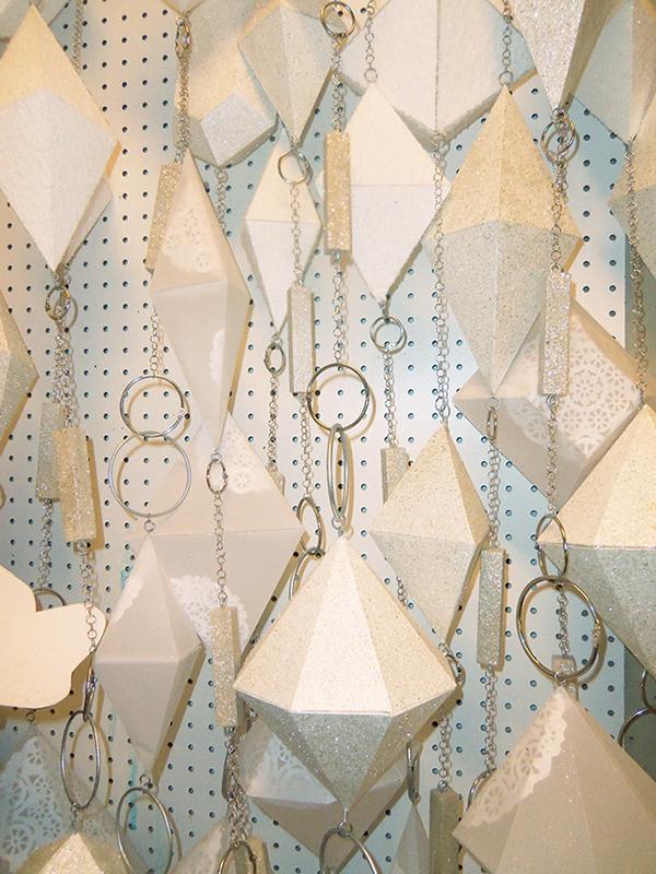 Winter Interior Display Hand Cut Vellum And Bristol Board Jewels On Chain