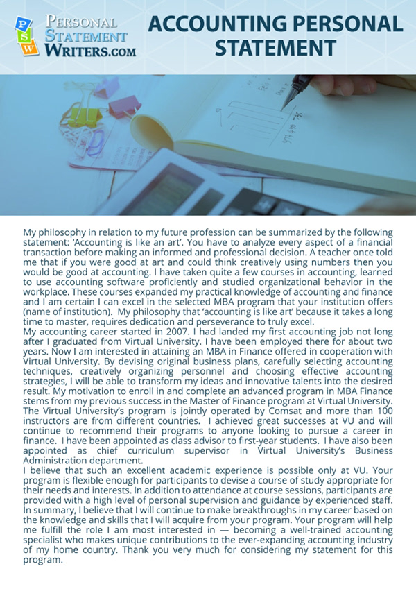 Accounting Personal Statement Sample On Pantone Canvas Gallery