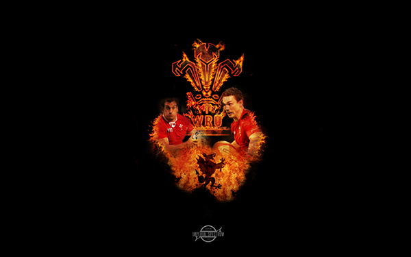 Wales Rugby Union Fire Wallpaper Featuring George North And Sam Warburton Not Sure About It But I Spent A While On The Logo So Pretty Happy With That
