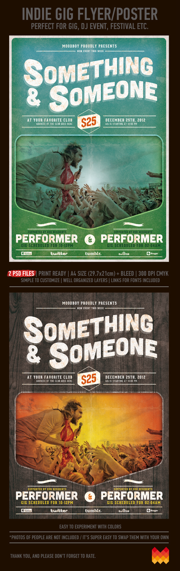 indie gig flyer poster template on behance
