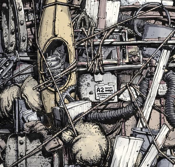 Markus Günther formzoo Digitally Drunken Haufen pile stack Stuff boat Umbrella junk kanu regenschirm lost verloren verzweifelt desperate suchend searching Seach Suche quest adventure Abenteuer science fiction Patton Oswalt