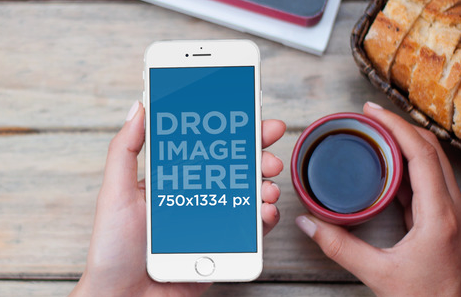 Iphone 6 Template | Iphone 6 Mockup Template At A Breakfast Scene On Behance