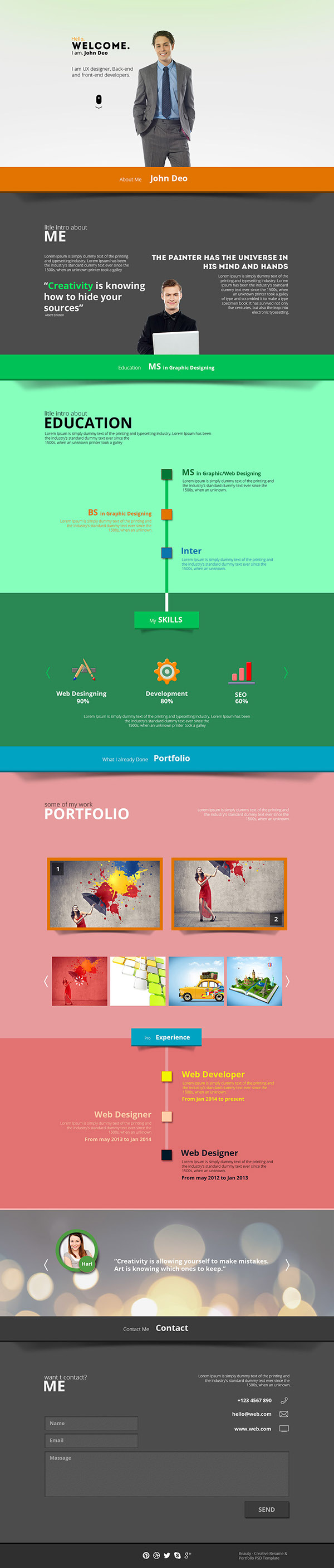 beauty creative resume portfolio psd template on behance