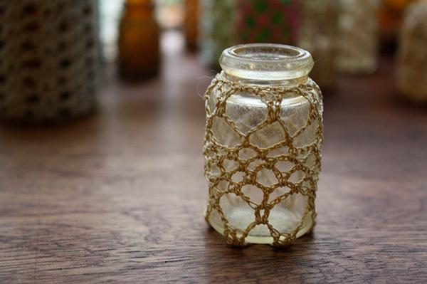 crochet  bottle glass bottle  lace lace covered
