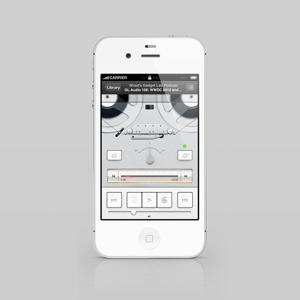 Podcasts ios app apple player braun Dieter Rams tg60 redesign experiment