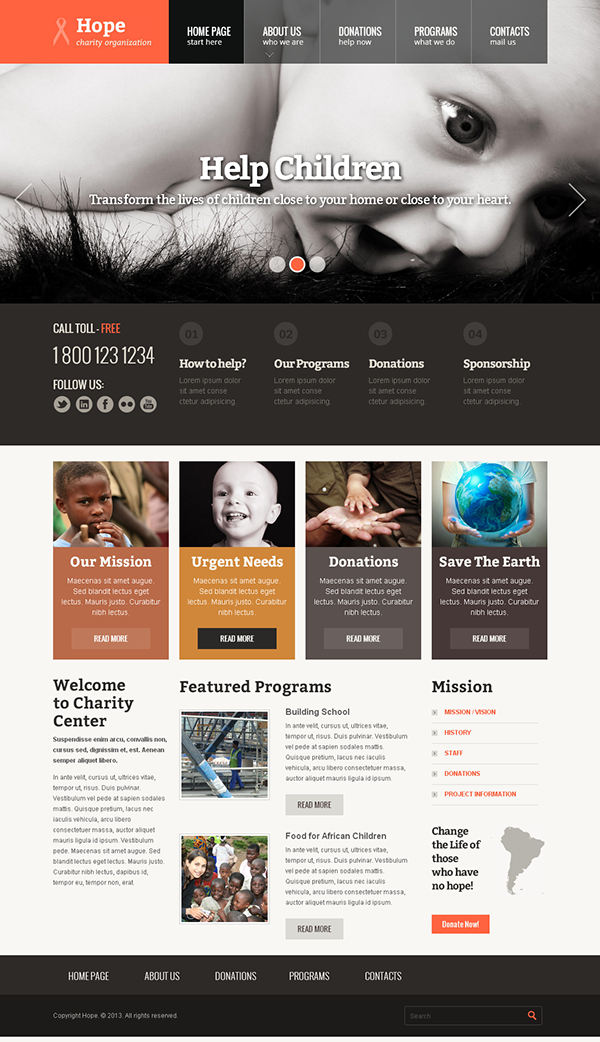 hope children charity organization bootstrap template on behance