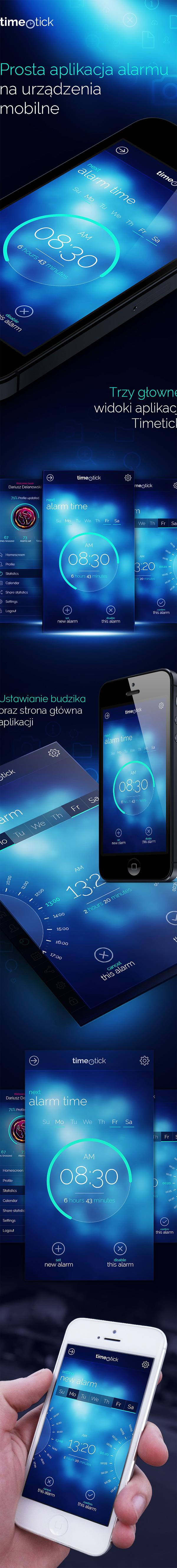 mobile app application alarm blue modern clean