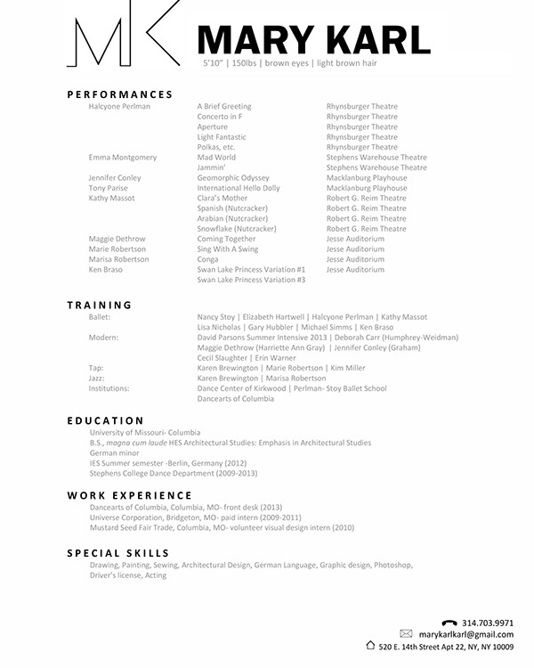 Dance Resumes Dancer Resume Samples Visualcv Resume Samples