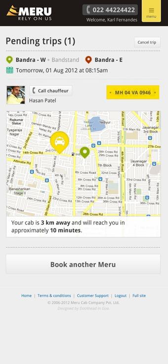 mobile design mobile design india meru mobile booking Booking taxi cab