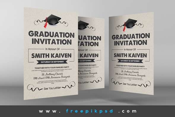 free graduation invitation cards psd on behance