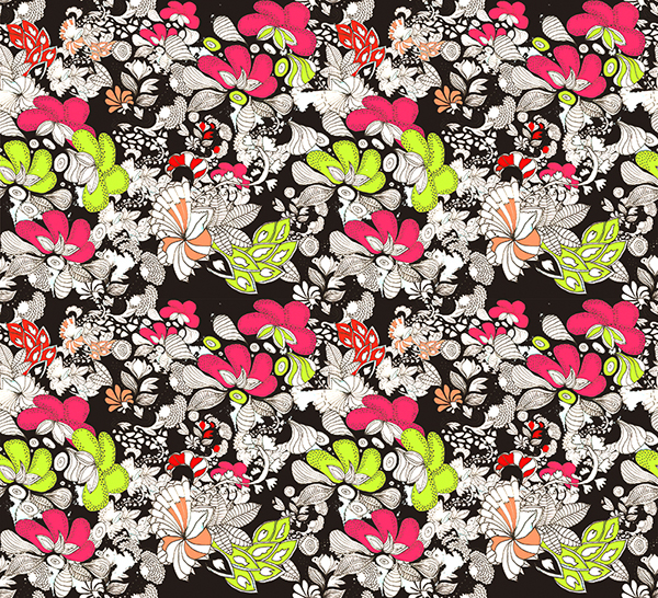 textil floreado fondo oscuro on Behance