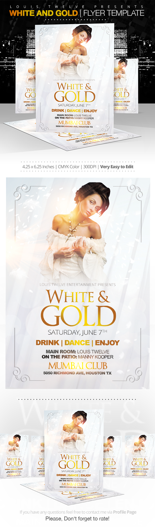 white and gold flyer template on behance