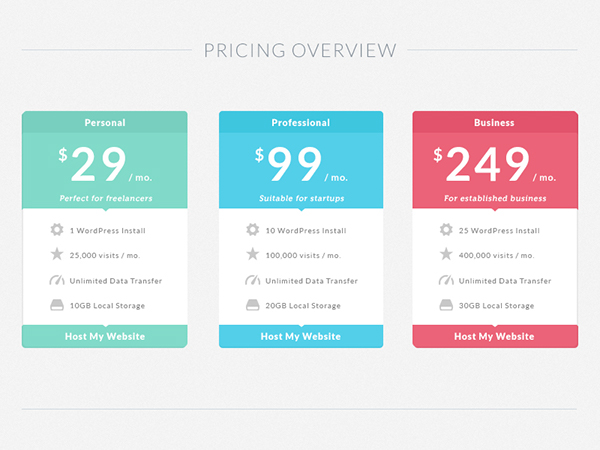 Freebie flat pricing table on behance for Pricing table design