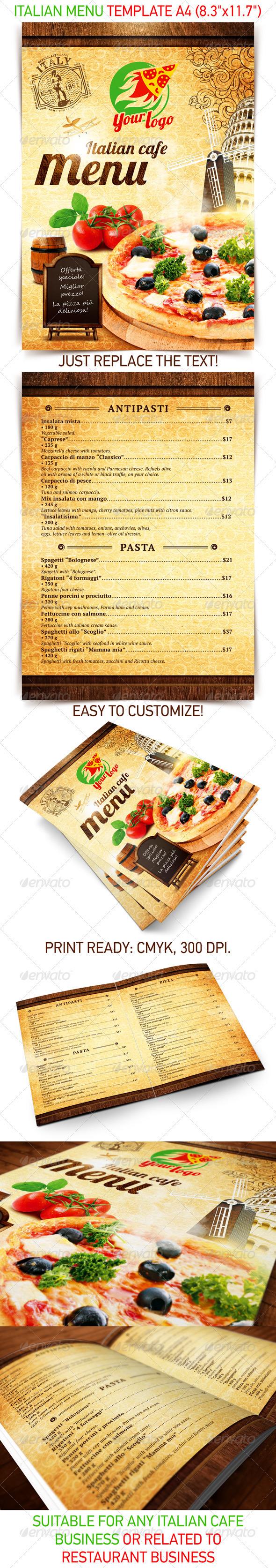 Italian menu template PSD Template on Behance – Italian Menu