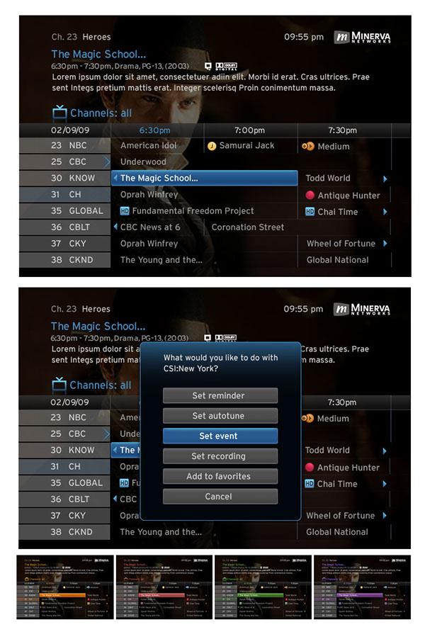 Minerva network IPTV epg