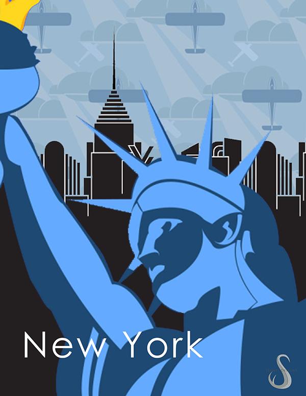 Art Deco Poster New York.New York Poster Plakastil Art Deco On Behance