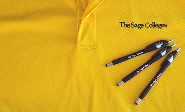 The Sage Colleges admissions materials retracatable banners table top displays handouts