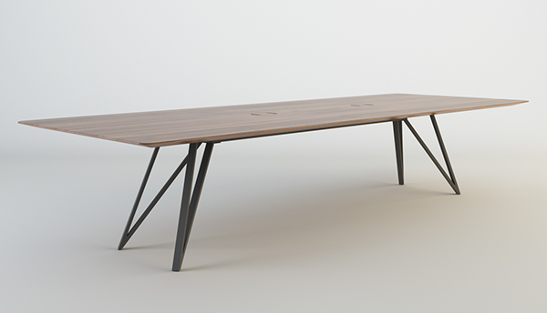 The Middle Beam Serves As Support And Space For Electricity Cable Management.  I Have Designed One Large Table For 12 People One Small Circular Table.