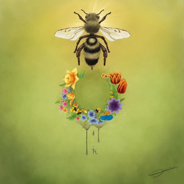 laminate Mark Ryden Abeja bee flower Flores green Verde