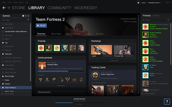Steam,Valve,steam client,UI/UX Design,Video game client,Video game store,Digital Storefront