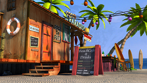 3D Beach Bar on Behance