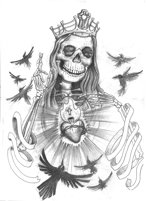 La Santa Muerte Tattoo Drawings Sketch Coloring Page