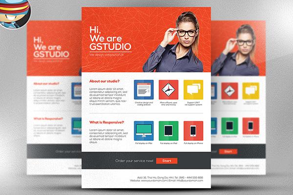 Flat Style Web Design Studio Flyer Template on Behance