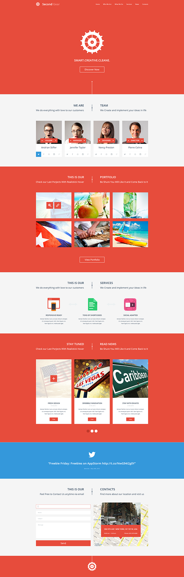 second gear one page portfolio psd template on behance