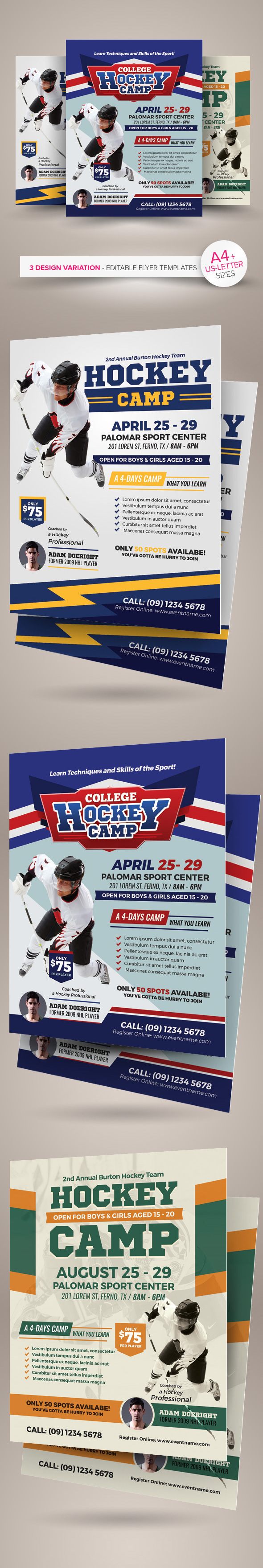 hockey camp flyer templates on behance hockey camp flyer templates are fully editable design templates created for on graphic river more info of the templates and how to get the sourcefile