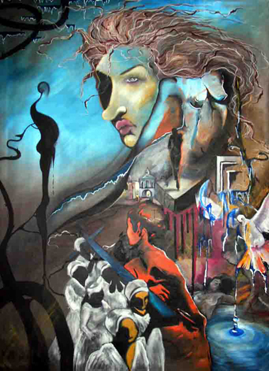 The Drag Queen Dilemma painting oil on canvas by Izabela Wojcik
