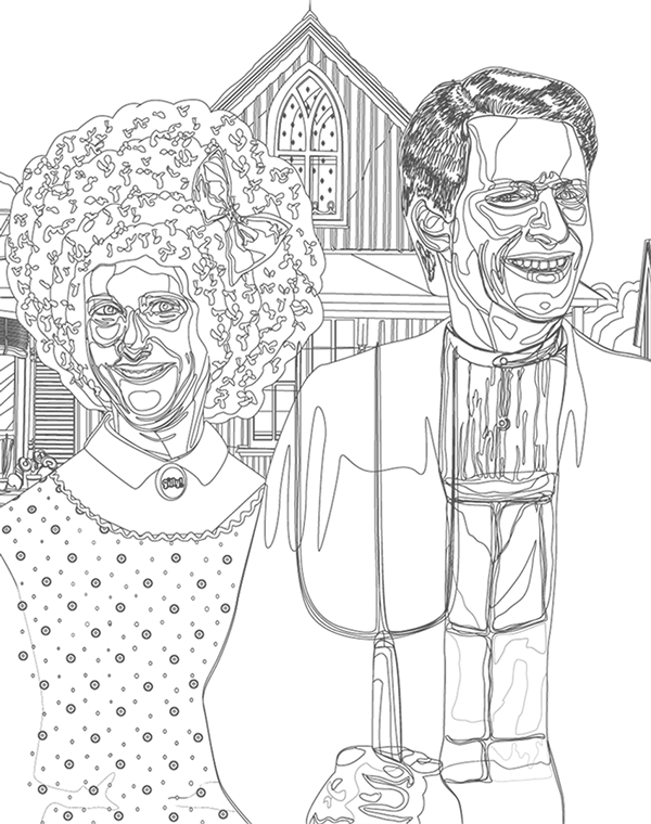 american gothic coloring page - live from american gothic on behance