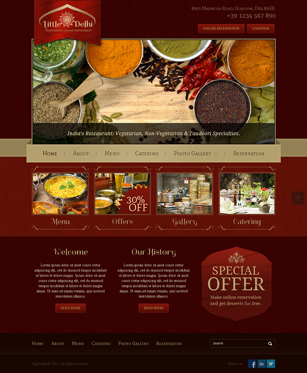 Little delhi indian restaurant bootstrap html template on