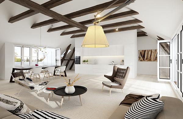 Penthouse interior on behance for Poutre decorative plafond