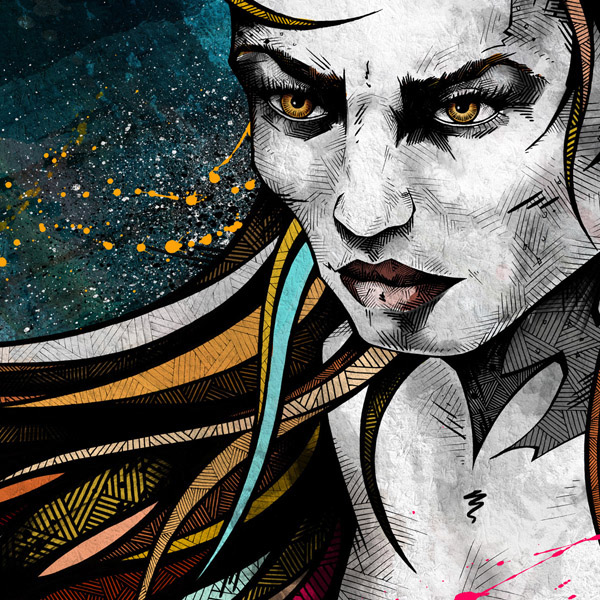 Fineliners markers cans colors drips contrast hatching streetstyle Urban free works people cool Young dark digital men women youth Dreadlocks asian detailed ornaments faces portraits Client commission