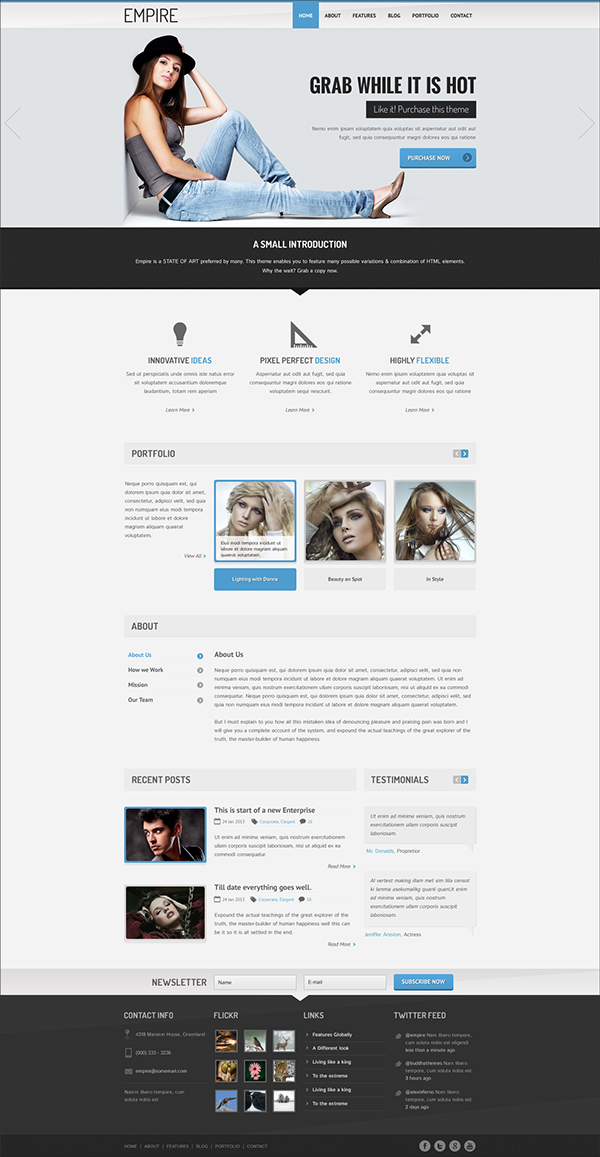 Empire high quality multipurpose psd template on pantone for Page 3 salon coimbatore