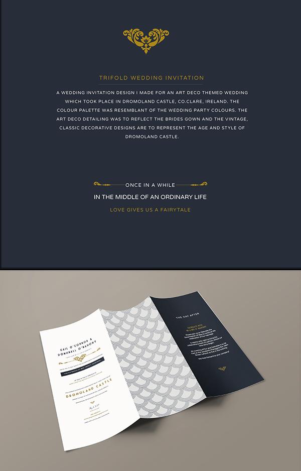 vintage art deco trifold wedding invitation design on behance
