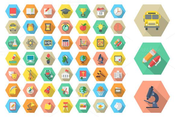 School Flat Design Icons