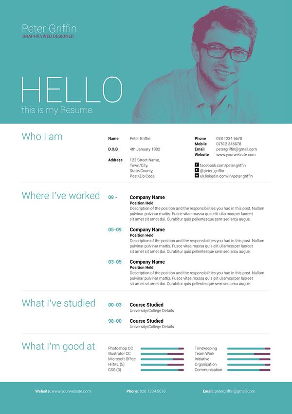 my resume v1 on behance