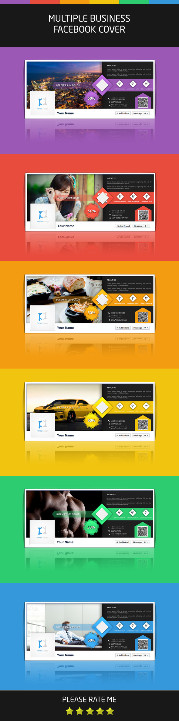 Multiple business facebook cover template on behance accmission Images