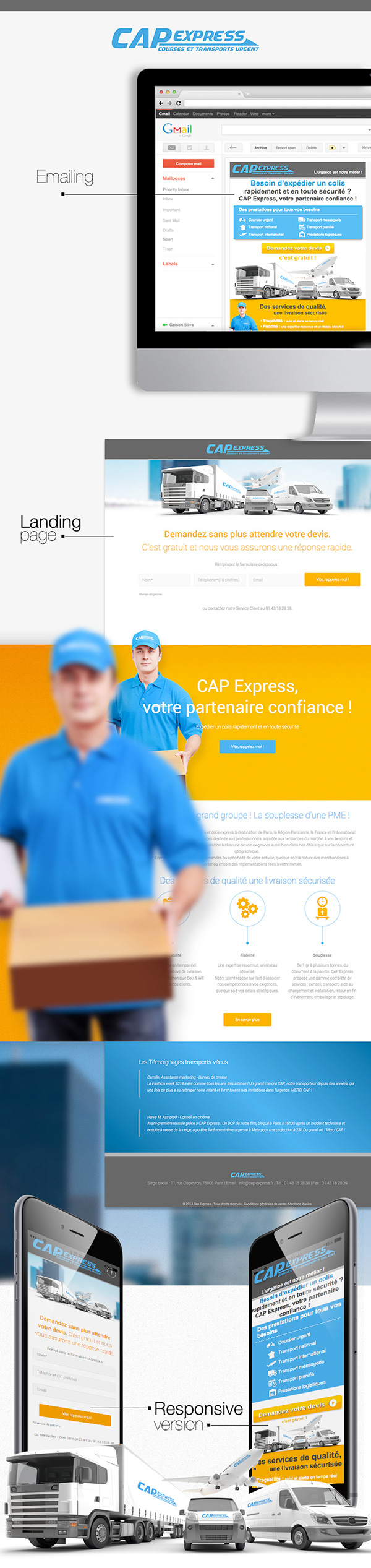emailing landing page Responsive
