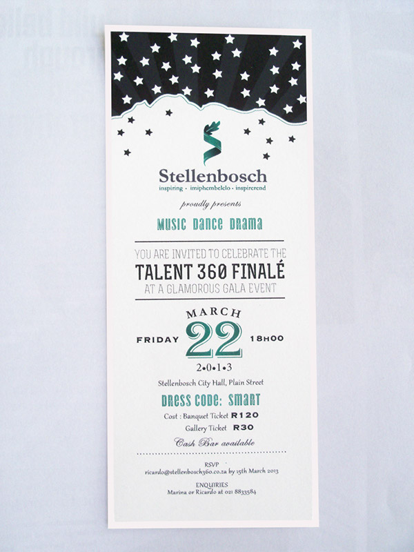stellenbosch invitation design ticket design Identity Design Nature textured
