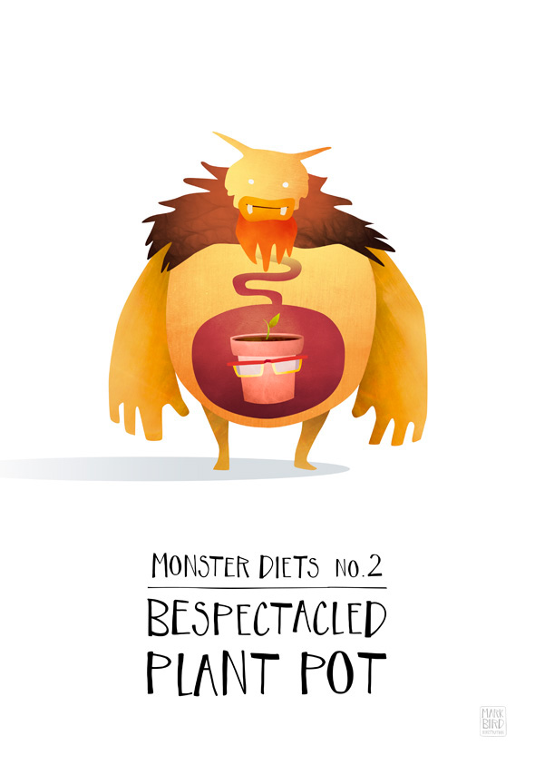 monster diet Food  kids children whimsical print poster series Fun humour humor creature graphic type