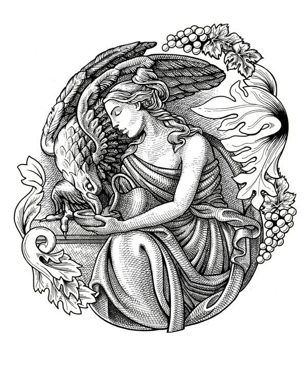 Saviah cellars wine Label bottle line art ink