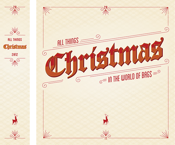 this was designed as a binder cover to house all of the christmas presentation design work of the gift bag department at the clever factory