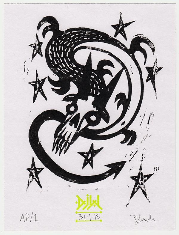 linocut skull dragon stars Magic   monster