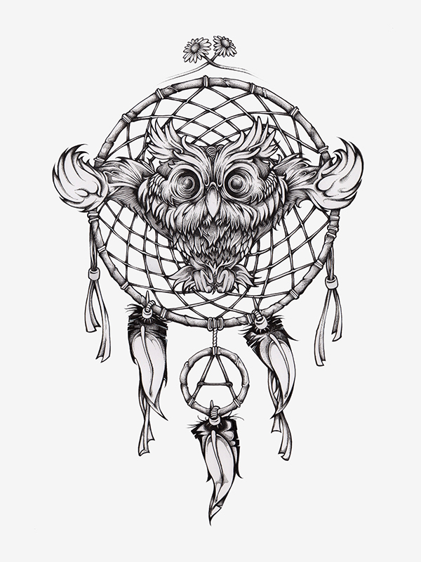 Owl dreamcatcher drawing - photo#19